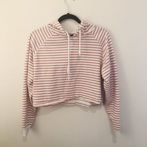 Forever 21 Pink & White Striped Cropped Hoodie